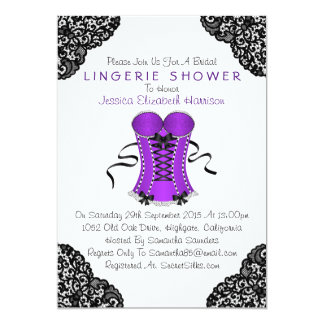 Purple Corset & Black Lace Lingerie Shower Card