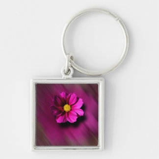 Purple Cosmo with Blurred Background Silver-Colored Square Key Ring