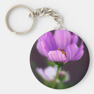 purple Cosmos Basic Round Button Key Ring