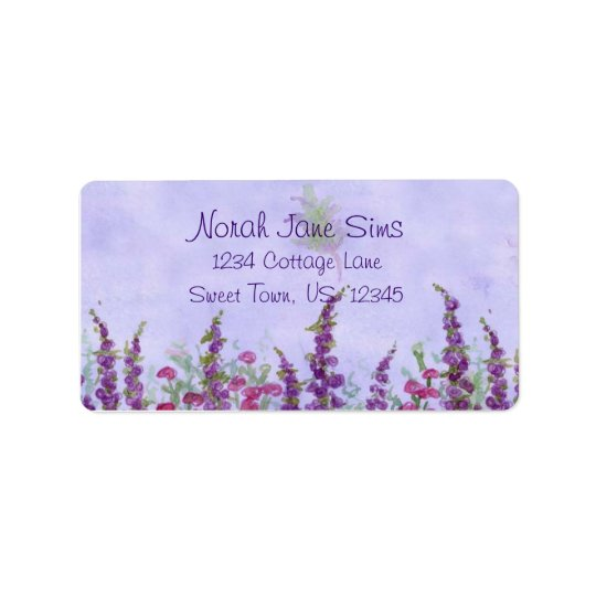 Purple Cottage Garden Watercolor Flowers Label