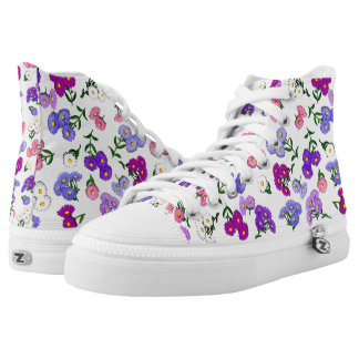 Purple Country Asters High Top Sneakers