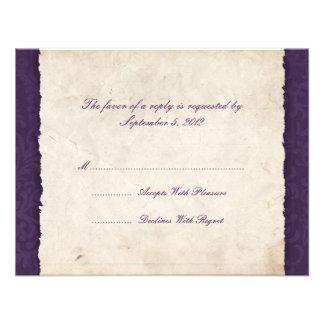 Purple Country Wedding RSVP Custom Invites