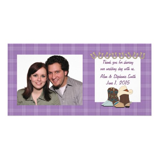 Purple Country Western Thank You Photo Cards