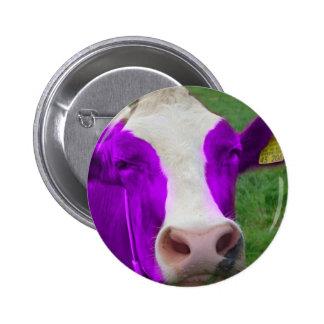 purple cow 6 cm round badge
