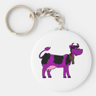 Purple Cow Basic Round Button Key Ring
