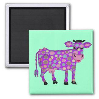 Purple Cow Square Magnet