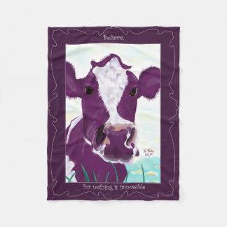 Purple Cow Quite Possibly Contemplating Flight Fleece Blanket