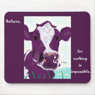 Purple Cow Quite Possibly Contemplating Flight Mouse Mat