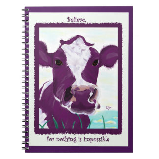 Purple Cow Quite Possibly Contemplating Flight Notebook