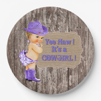 Purple Cowgirl Baby Shower 9 Inch Paper Plate