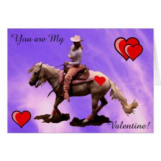 Purple cowgirl -Card - Valentine`s Day Greeting Card