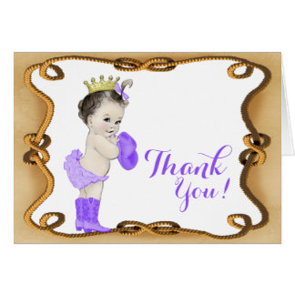 Purple Cowgirl Princess Baby Shower Thank You Card