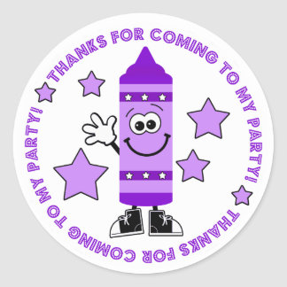 Purple Crayon Birthday Party Thank You Sticker