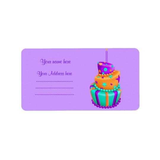 PURPLE CRAZY CAKE ADDRESS LABEL