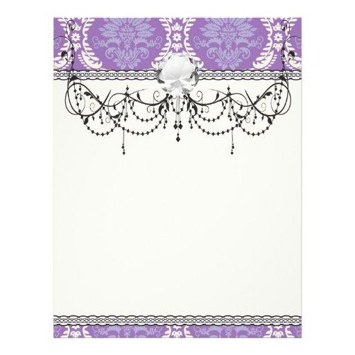 purple cream damask pattern flyer design