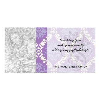 purple cream damask pattern personalized photo card