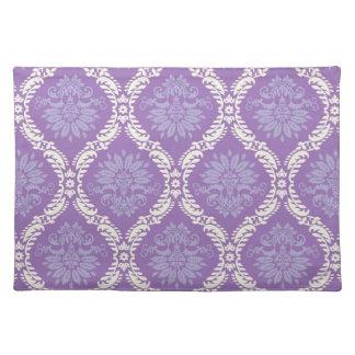 purple cream damask pattern placemats