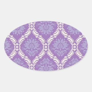purple cream damask pattern stickers