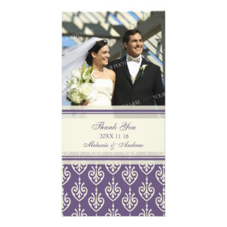 Purple Cream Thank You Wedding Photo Cards