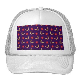 purple cricket pattern trucker hat