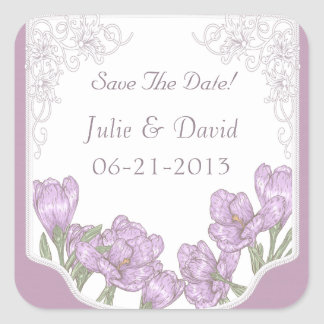 Purple Crocus Flowers Wedding Save The Date Square Sticker