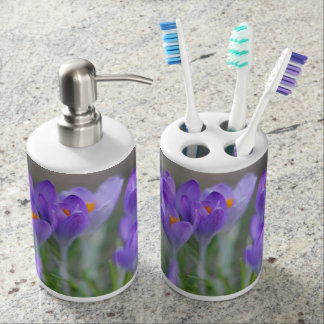 Purple crocuses soap dispenser and toothbrush holder