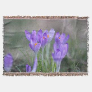 Purple crocuses throw blanket