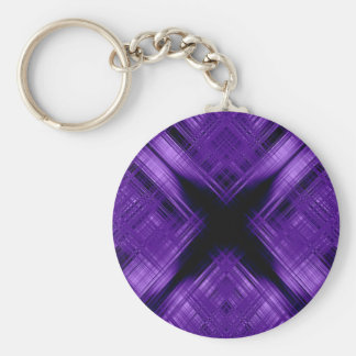 Purple cross and grid basic round button key ring