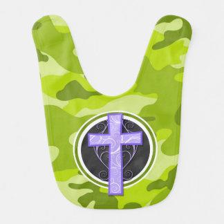 Purple Cross; bright green camo, camouflage Baby Bibs