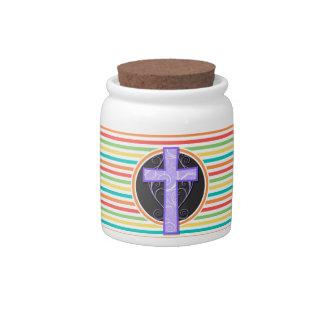Purple Cross; Bright Rainbow Stripes Candy Jars