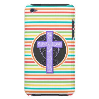 Purple Cross Bright Rainbow Stripes Case-Mate iPod Touch Case