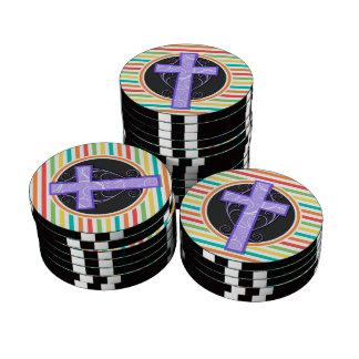 Purple Cross; Bright Rainbow Stripes Poker Chips