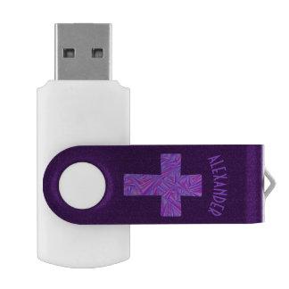 Purple Cross Christian Symbol Faith Religion Swivel USB 2.0 Flash Drive
