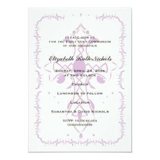 Purple Cross First Communion Confirmation 13 Cm X 18 Cm Invitation Card
