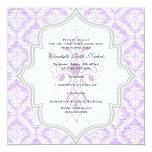 Purple Cross white damask burlap First Communion 13 Cm X 13 Cm Square Invitation Card