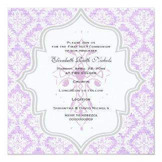 Purple Cross white damask burlap First Communion Card