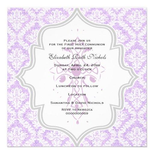 Purple Cross white damask burlap First Communion Invitations
