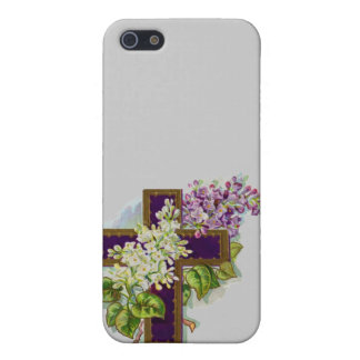 Purple Cross With Flowers Case For The iPhone 5