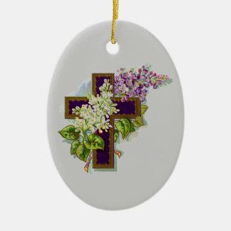 Purple Cross With Flowers Ceramic Oval Decoration