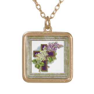 Purple Cross With Flowers Gold Plated Necklace