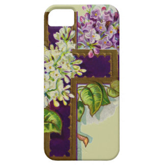 Purple Cross With Flowers iPhone 5 Cases