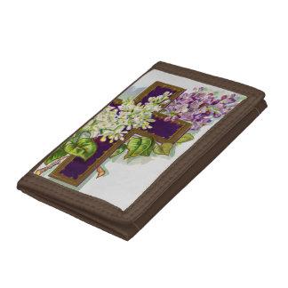 Purple Cross With Flowers Tri-fold Wallet