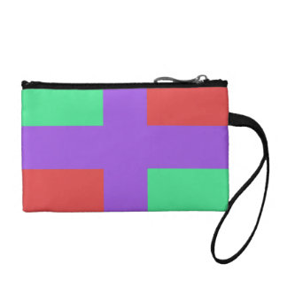 Purple Cross with Teal and Pink Background Change Purse