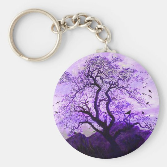Purple Crow Tree Hills Raven Keychain