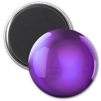 Purple Crystal Ball 6 Cm Round Magnet