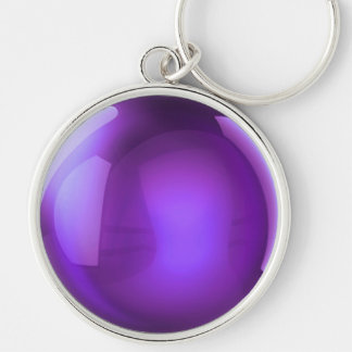 Purple Crystal Ball Silver-Colored Round Key Ring