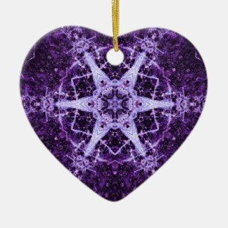 Purple Crystal Jewel Heart Memory Ornament