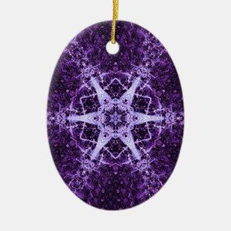 Purple Crystal Jewel Oval Ornament