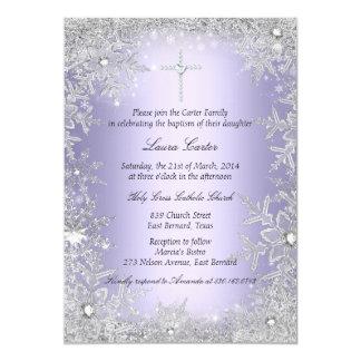 Purple Crystal Snowflake Baptism/Christening 13 Cm X 18 Cm Invitation Card