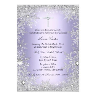 Purple Crystal Snowflake Baptism/Christening 5x7 Paper Invitation Card